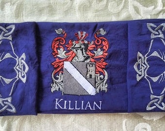 Celtic Wedding Collection -Custom Heraldic Crest Handfasting Cloth in Silk - MADE TO ORDER