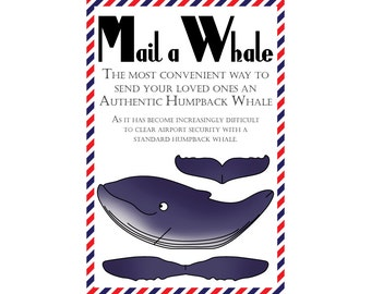 "Whale Postcard, Set of 8 ""Mail a Whale"" (Humpback Whale) Postcards"