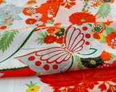 Vintage Japanese Kimono Fabric - Silver Butterfly on a Riot of Flowers