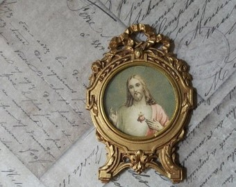 CLEARANCE Sacred Heart Of Jesus Christ, Gold Gilt Frame, Ormolu Metal Shrine Portable Devotional Picture, Ribbons & Flowers, Made In France