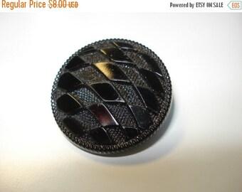 50% OFF SHOP SALE Antique Black Glass Diamond Pattern Button