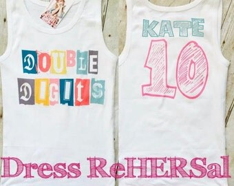 Double Digits Ruffle t shirt or tank top 10th tenth birthday 10 personalized with name