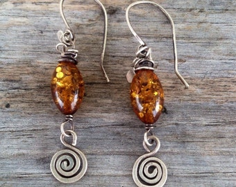 Sterling silver, amber and spiral earrings