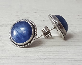 Blue Kyanite Studs Earrings Sterling Silver Post Earrings 10 mm
