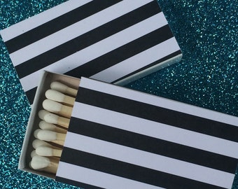 10 Matchbox Favors white black stripes pinstripes steampunk