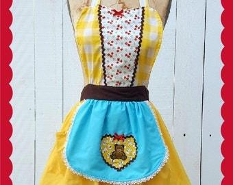 Goldilocks costume, retro APRON, womens full apron Halloween costume, Goldilocks and the three bears tutu, costume apron, vintage costume