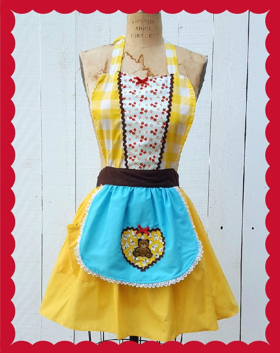 Goldilocks costume, retro APRON, womens full apron Halloween costume, Goldilocks and the three bears tutu, costume apron, vintage costume