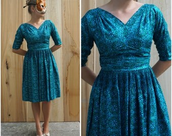 Vintage 50's/60's Teal Blue Printed Silk Party Dress by R&K Originals | Small