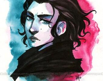 Kylo Ren - ORIGINAL Ink Painting (anime/manga styled star wars fanart)