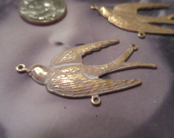 Gold Plated Frosted White Patina Large Brass Swallows with 3 rings 300WHT x2