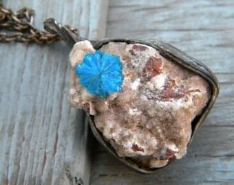 Cavansite on Heulandite , Natural, rare silver copper india blue sky nature
