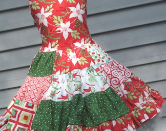 Ready to Ship Custom Boutique Christmas Dress Red Green Ruffle Girl Size 4 or Slim 5