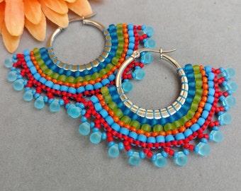 Colorful Brick Stitch Hoop Fan Earrings Boho Earrings Beadwork Fan Earrings Native American Inspired Beaded Earrings SALSA