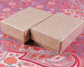 Summer Stock Sale 100 Pack Kraft Cotton Filled Jewelry Presentation Boxes 1.85X1.25X5/8 Inch Size Itty Bitty Boxes