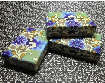 Halloween Stock Up Sale 20 Pack Blue and Purple Design Origami Style Floral Pattern 3.25X2.25X0.65 Inch Sized Cotton Filled Jewelry Presenta