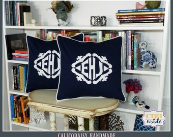 SET OF 2 - The Lisette Applique Framed Monogrammed Pillow Cover - 18 x 18 square