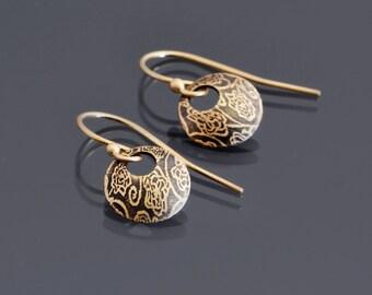 Tiny Rose Garden 14K Gold Earrings , dainty  earrings, yellow gold circle earrings, minimalist earrings, domed earrings, botanical earrings