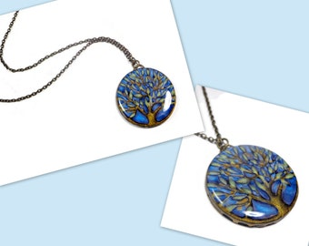 Tree of Life Blue Statement necklace- polymer clay jewelry- Resin Pendant- Trendy Jewelry- Boho