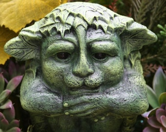 Greenman Statue - Green Man Celtic Deity - Jack O' The Green - Concrete Garden Sculpture - Guardian of the Forrest