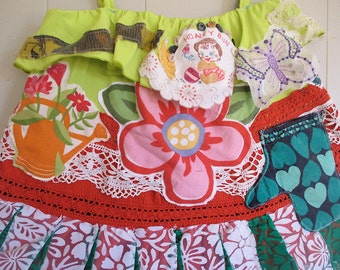 en chartreuse - Boho Style Hippie Chic - Vintage Embroidery Doily Dress - Wearable Fabric Folk Art Collage TUNIC - Artist Clothing - mybonny