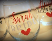 8 - stemless wine glasses - set of 8 - Great gift for the bridesmaids, bachelorette parties, showers...  Choose your fonts!