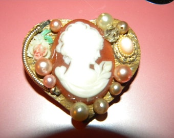 Handmade Vintage/Victorian Style Cameo Steampunk Brooch Pin