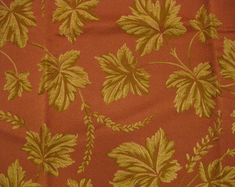 Highland Court Spring Leaf Vine Tapestry Designer Fabric Sample Salmon Gold
