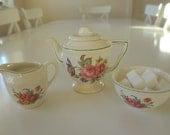 Vintage Child's Teapot, Sugar Bowl, Cream Pitcher Jug Floral Design English Tea Service - Tea Party - EnglishPreserves
