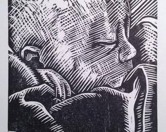 Sleeping Baby woodcut print