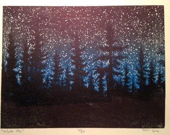 Winter Sky woodcut print