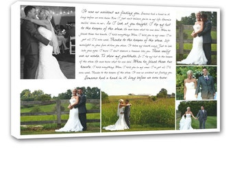 Storyboard Wedding Photo Collage with quotes, words, Cotton Anniversary Gift Personalized Canvas with Text Large Wall Art 18X24
