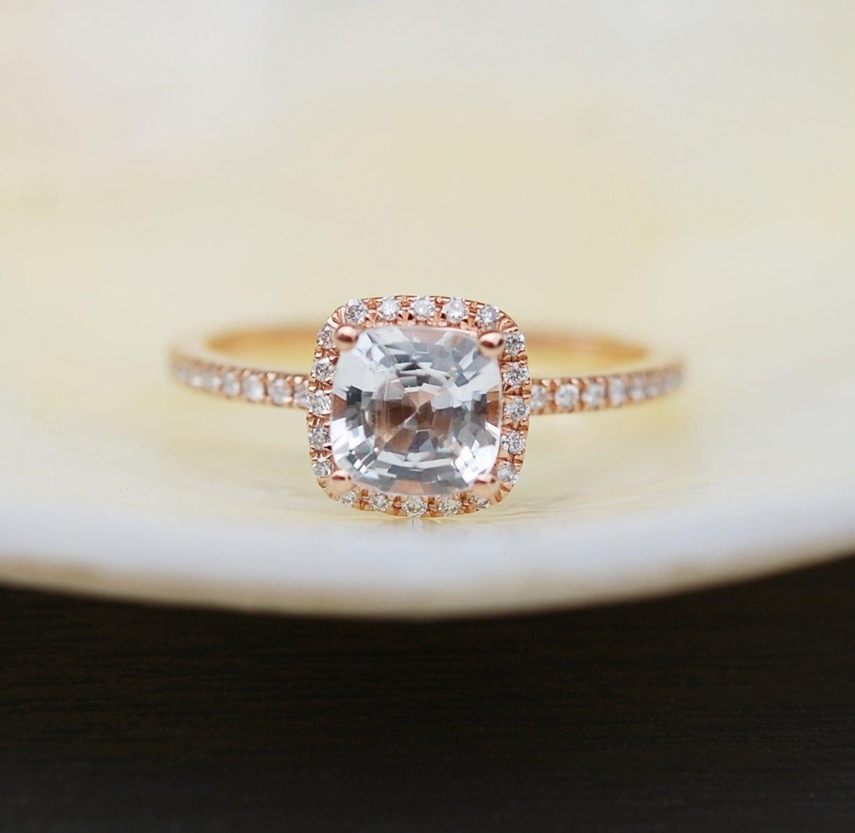White Sapphire Ring Engagement Ring Square Cushion 14k Rose Gold Diamond  Ring 116ct Sapphire Ring By Eidelprecious
