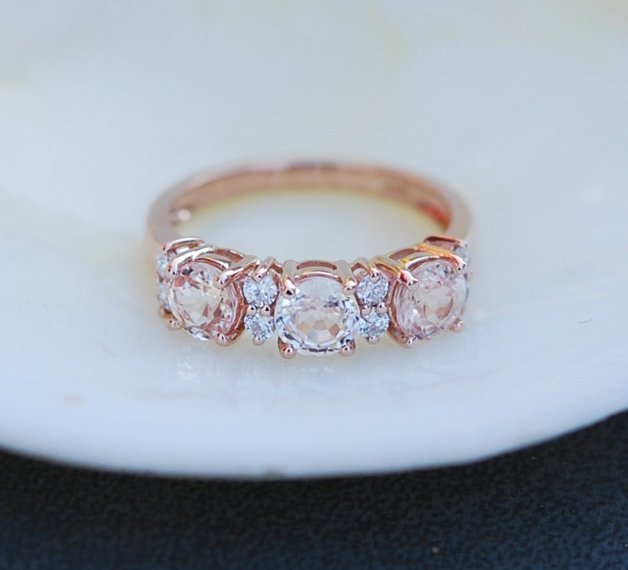 Peach sapphire anniversary ring 3 stone ring 14k rose gold diamond ring by Ei