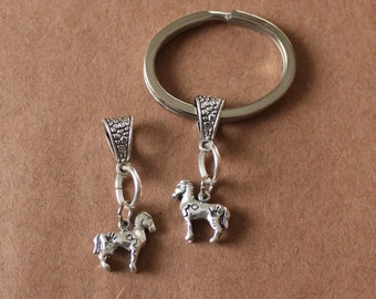 Sterling Silver 3D PAINTED PONY Keychain, Key Chain, Keyring, Key Ring - Native American, Southwest