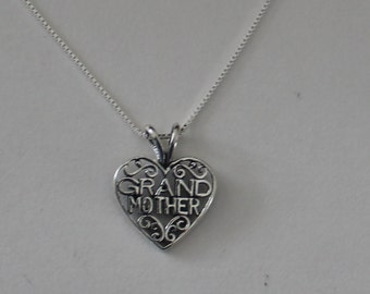 Sterling GRANDMOTHER Pendant and 20 Inch Chain - Grama, Gram, Family