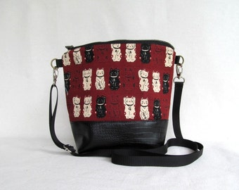 ADELE Day Bag // Cross Body Bag // Hip Bag // Small Zippered Purse // Lucky Cat // Japanese Import Dobby