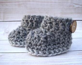 Crochet Baby Booties, Baby Boots, Newborn Booties, Infant Booties, Baby Boy Booties, Baby Crib Shoes, Crochet Booties, Baby Shower Gift Grey