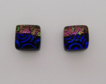 Tiny dichroic glass post earrings