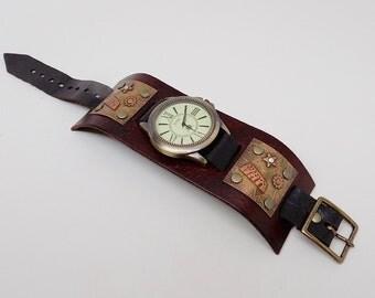 Steampunk watch. Steampunk cuff watch.