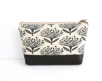 Small cosmetic Clutch, Skinny laMinx Print, Faux Leather Bottom, Zipper Pouch, Personal Travel Bag, Makeup Organizer, Laminated Lining