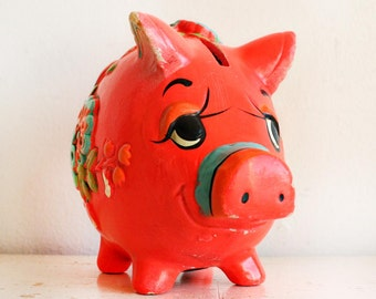 1969 Vintage Flourescent Pink Orange Chalkware Piggy Bank - Holiday Fair OSL -