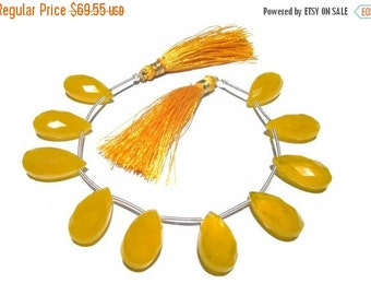 55% OFF SALE 7 Inches - Finest Quality Yellow Chalcedony Micro Faceted Pear Briolettes Size 20x10mm approx 10 Pieces 5 Matched pair