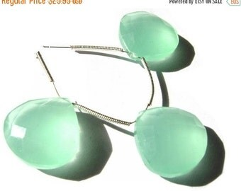 50% Off Valentine day 3 Piece set of 18mm Aqua Green Chalcedony Faceted Heart Briolette- Matched pair and a focal pendant