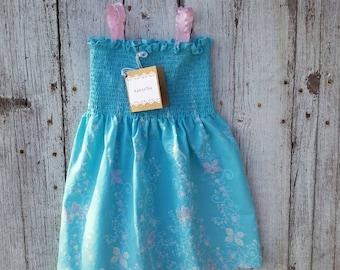 2T, 3T, 4T, Dress, Little Girl Sundress, Blue Sundress, Butterfly Dress, Shirred Dress, Blue Dress, Summer Dress, Summer Blue Dress,