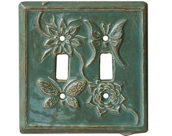 Flowers & Wings Ceramic Double Toggle Light Switch Cover in Antique Teal Glaze