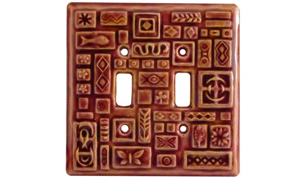 Symbols  Double Toggle Light Switch Cover in Amber Rose Glaze