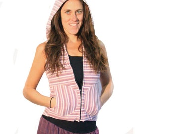 ON SALE - Fleece Hoodie Vest - Striped Velour