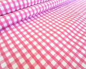 Pink and White Check Plaid Cotton Flannel Fabric - 1 Yard