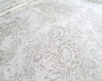 Vintage Polyester or Rayon Knit Toile Inspired Floral Fabric Yardage