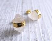 Clear Quartz Terminated Point Crystal Earrings   Crystal Point Earrings   Clear Quartz Earrings  Gemstone Earrings   Crystal Point Crystals